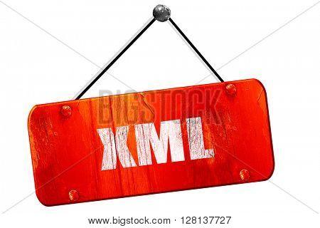 xml, 3D rendering, vintage old red sign