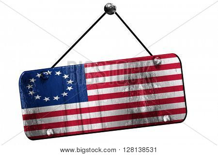 America flag , 3D rendering, grunge hanging vintage sign