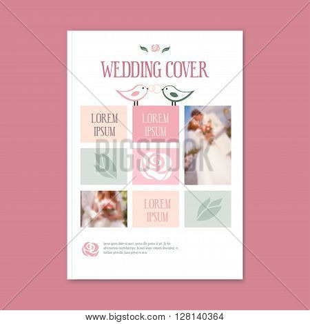 vector wedding template cover booklet. The cover of the brochure for florist, flower shop, wedding, photo album, magazine or flyer. Wedding Brochure with flower logo. - stock vector