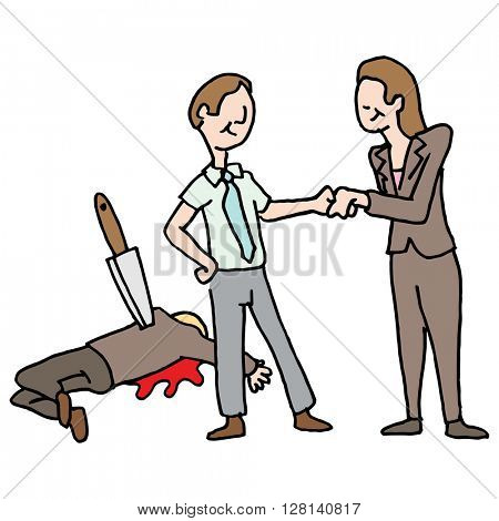 An image of a man getting a promotion by backstabbing his co-worker.