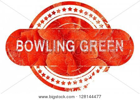 bowling green, vintage old stamp with rough lines and edges