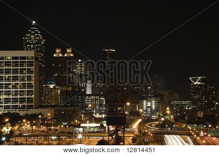 Nightscape of Atlanta, Georgia skyline.