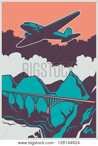 Retro poster with airplane. Vector illustration.