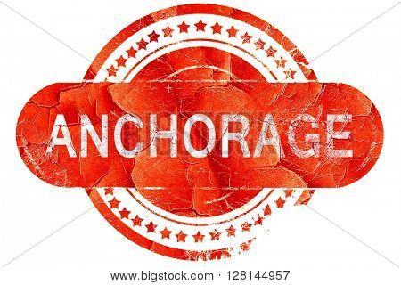 anchorage, vintage old stamp with rough lines and edges