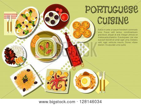 Portuguese cuisine with caldo verde cabbage soup with smoked sausages, octopus, french fries with hot sandwich, feijoada bean stew with meat and rice, baked cod with potato, arbutus fruit brandy and jam, chocolate and custa