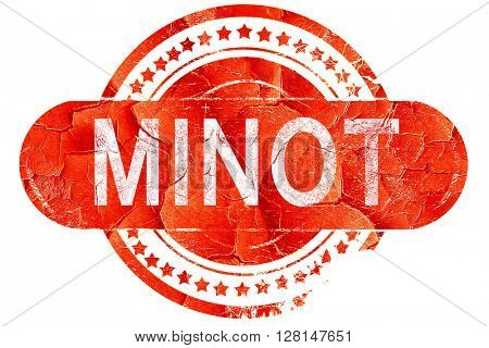 minot, vintage old stamp with rough lines and edges