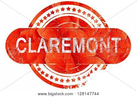 claremont, vintage old stamp with rough lines and edges