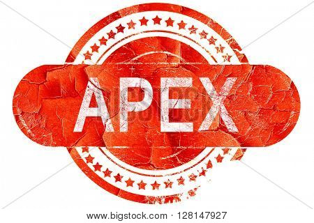 apex, vintage old stamp with rough lines and edges