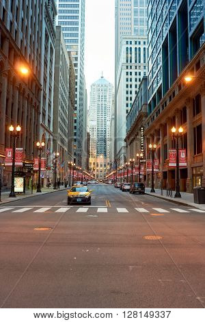 CHICAGO, IL - CIRCA APRIL, 2016: streets of Chicago at evening. Chicago, colloquially known as the