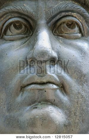 Close-up of colossal head of Constantine I statue at the Capitoline Museum, Rome, Italy.