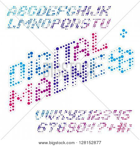 Digital madness color typeset. Color dots alphabet. Color font. Vector font Digital Madness