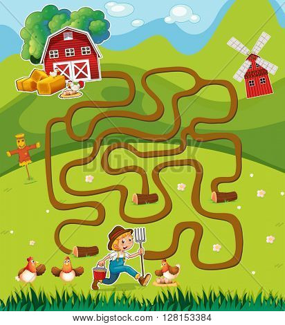 Game template with farmer in the farmyard illustration