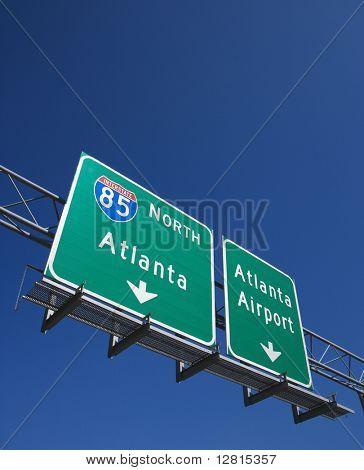 Highway sign for I-85 North to Atlanta, Georgia and the Atlanta Airport.