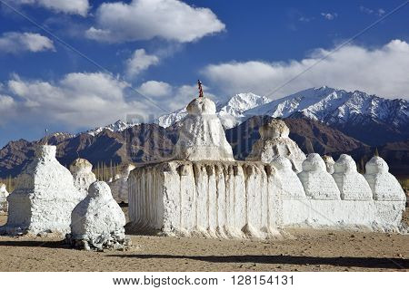 Buddhistic stupas (chorten) in the Himalayas â?? Ladakh, Jammu & Kashmir, India