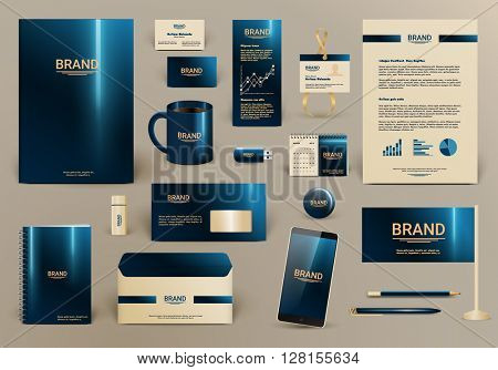 Blue luxury branding design kit for hotel. Premium corporate identity template. Business stationery mock-up and documentation with logo. Editable vector illustration: folder, envelope, cup, card, etc. poster