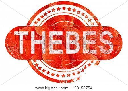 thebes, vintage old stamp with rough lines and edges