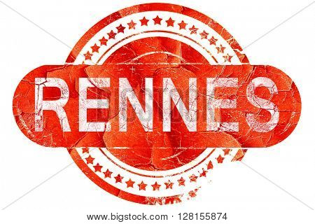 rennes, vintage old stamp with rough lines and edges