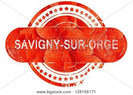 savigny-sur-ogre, vintage old stamp with rough lines and edges