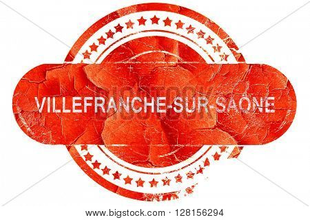 villefrance-sur-saone, vintage old stamp with rough lines and ed