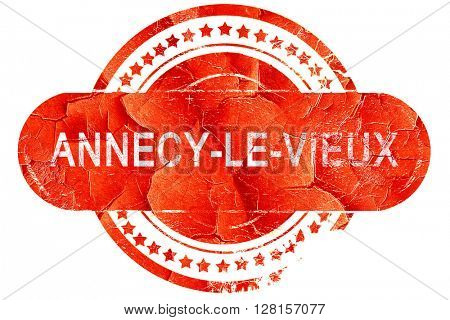 annecy-le-vieux, vintage old stamp with rough lines and edges