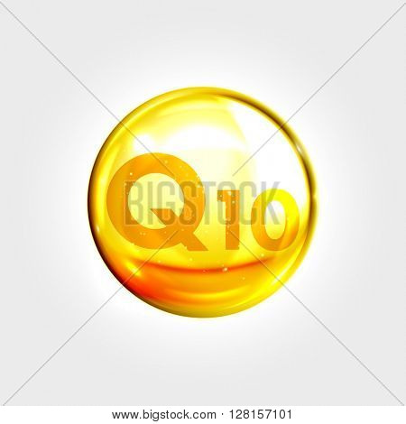 Coenzyme Q10. Gold vector oil icon. Enzyme drop pill capsule. Shining golden essence droplet. Beauty treatment nutrition skin care design. Vector illustration.