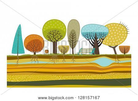 The vector illustration of flat park elements - various trees, garbage can, bench and soil cut layers with roots, rocks and water.