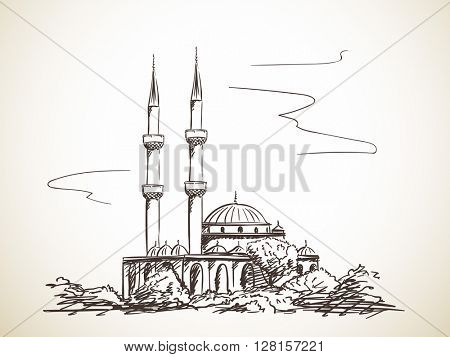 Sketch of mosque with two minarets Hand drawn illustration isolated