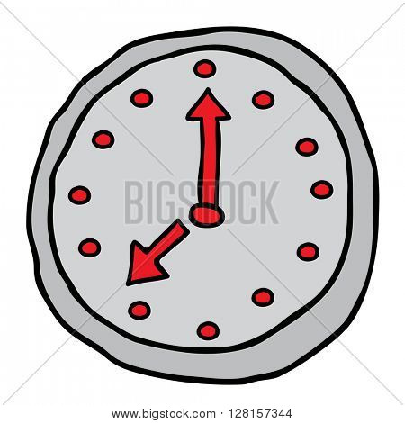 freehand wall clock cartoon doodle