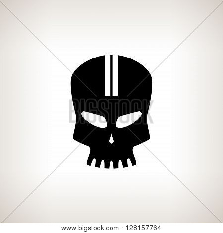 Sport Moto Speed Skull, Silhouette Skull on a Light  Background , Isolated, Death's-head, Black and White Vector Illustration