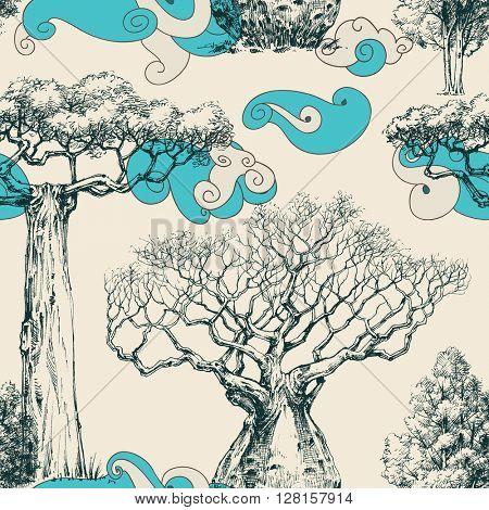 Woods seamless pattern, nature print