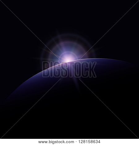 View from Space, Star Rises above the Planet, the Sun Rising over the Earth, Rays and Glare over the Earth , Space Background, Vector Illustration