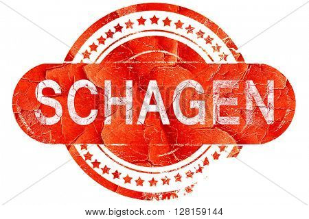 Schagen, vintage old stamp with rough lines and edges
