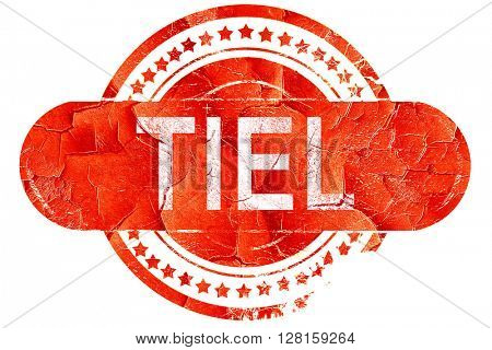 Tiel, vintage old stamp with rough lines and edges