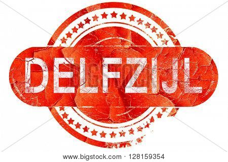 Delfzijl, vintage old stamp with rough lines and edges