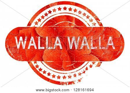 walla walla, vintage old stamp with rough lines and edges