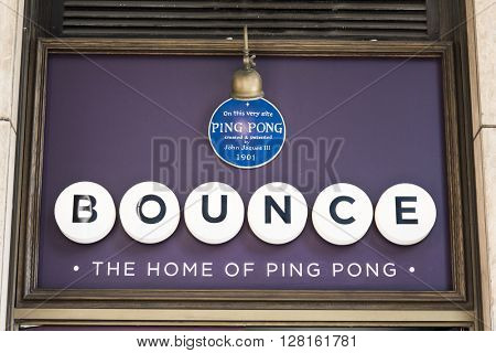 LONDON, UK - MAY 1, 2016: Detail shot of entrance of Bounce bar in High Holborn, the site where John Jaques III invented ping-pong.