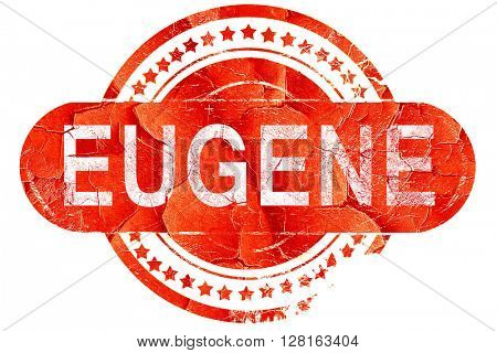 eugene, vintage old stamp with rough lines and edges