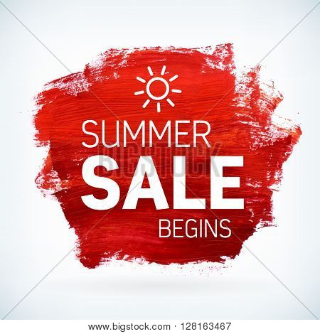 Red paint artistic dry brush stroke with business text. Watercolor acrylic summer sale begins background for print web design and banners. Realistic vector texture.