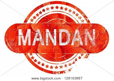 mandan, vintage old stamp with rough lines and edges