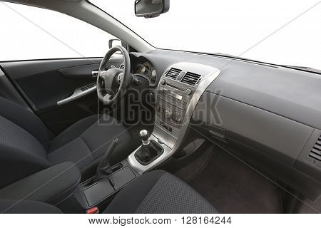 Car interior view with dashboard