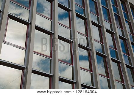 Modern office building detail, glass surface