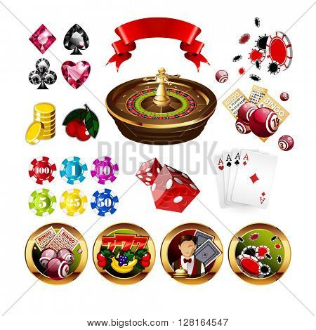 Big Set of Casino Gambling Elements and Icons Including Roulette Wheel, Playing Cards, Dice, Bingo Balls and Cards, Card Suits.