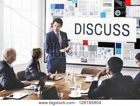 Discuss Discussion Negotiation Talking Debate Concept poster