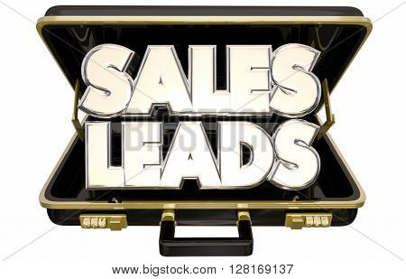 Sales Leads New Selling Prospects Customers Briefcase 3d Words