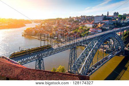 Cityscape of Porto downtown touristic Ribeira and D Luis Bridge