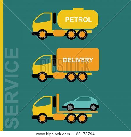 Delivery Cars. Petrol transportation truck. Car transporter. Various freighter automobiles. Isolated objects on green backdrop. Vector digital illustration.