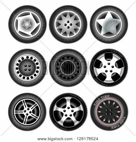 Collection of nine wheels with tires. Different forms and object variation. Car wheels. Isolated tires on white background. Digital vector illustration.