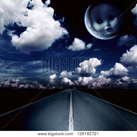 Night landscape with road, clouds and moon with ghost evil doll face