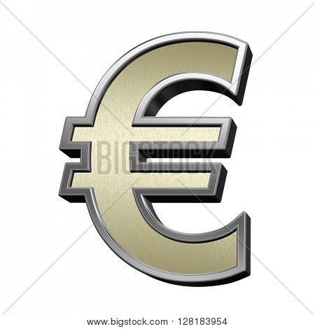 Euro sign from brushed gold with shiny silver frame alphabet set, isolated on white. 3D illustration.