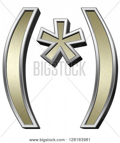 Parenthesis, asterisk from brushed gold with shiny silver frame alphabet set, isolated on white. 3D illustration.